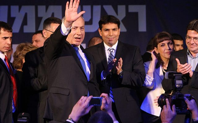 Netanyahu, on election night, surrounded by party members (photo credit: Miriam Alster/Flash90)