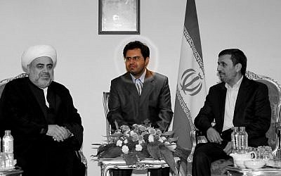 The author, Ahmad Hashemi, with President Ahmadinejad and Azerbaijani cleric, 2011 (photo: Iranian President's website)