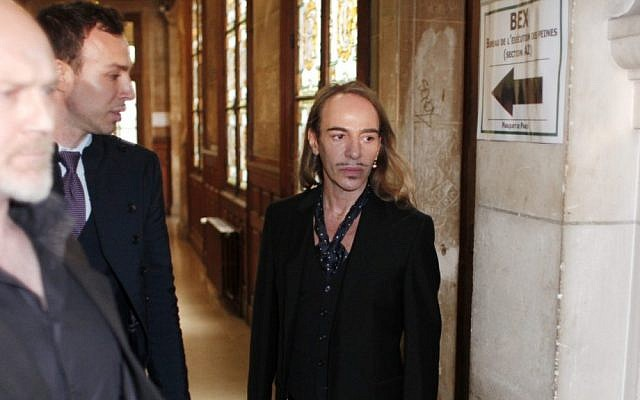 Former Dior designer John Galliano arrives at a Paris court house to face charges for hurling anti-Semitic slurs at a Paris cafe, in June 2011 (photo credit: AP/Thibault Camus)
