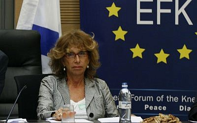 Fiamma Nirenstein attends a meeting between Israeli MKs and European delegates to discuss the relations between the European Union and the Israeli parliament in 2009 (Miriam Alster/Flash90)