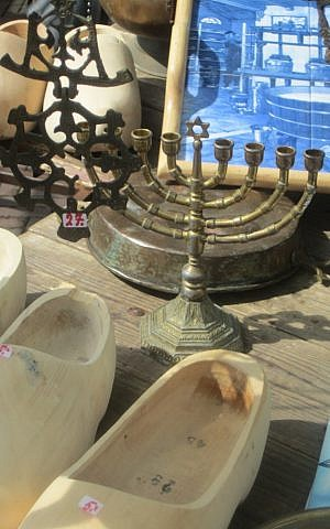 Traditional Dutch and Jewish items remain on sale at Amsterdam's former Jewish flea market. (Matt Lebovic)
