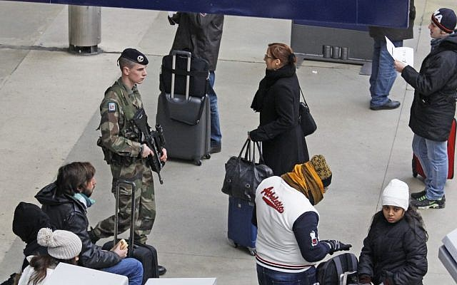 A French army soldier patrols Gare du Nord station in Paris, Monday Jan. 14, 2013. (photo credit: Remy de la Mauviniere/AP)