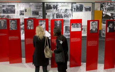Two women look at exhibits at the Topography of Terror museum in Berlin, Germany in 2013. (photo credit: AP Photo/Michael Sohn)