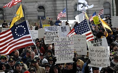 Demonstrators rally outside the Capitol in Albany, N.Y., on Saturday, Jan. 19 (photo credit: AP/Tim Roske)