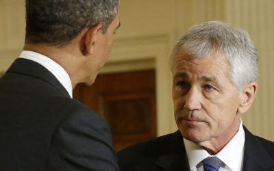 Barack Obama, left, shakes hands with Chuck Hagel in the White House on January 7, 2013. (photo credit: AP/Pablo Martinez Monsivais)