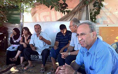 Hanna Swaid, foreground, of the Jewish-Arab socialist party Hadash (Courtesy of Hanna Swaid)