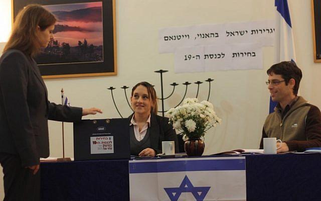 Israeli Ambassador to Vietnam Meirav Eilon Shahar voting in Hanoi (photo credit: courtesy Israeli embassy in Vietnam)