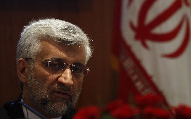 Iran's chief nuclear negotiator Saeed Jalili speaks during a press conference in New Delhi, in January 2013. (Photo credit: AP/Tsering Topgyal)