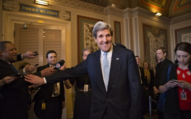 Sen. John Kerry, D-Mass., emerges after a unanimous vote by the Senate Foreign Relations Committee approving him to become America's next top diplomat on Tuesday, Jan. 29 (photo credit: AP/J. Scott Applewhite)
