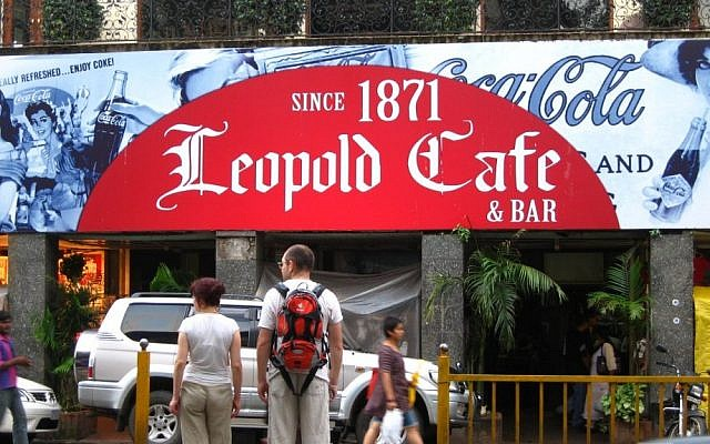 The Leopold Cafe, one of the sites struck during the Mumbai, India terrorist attacks of 2008 (photo credit: Greg O'Beirne/Wikimedia/Commons/File)