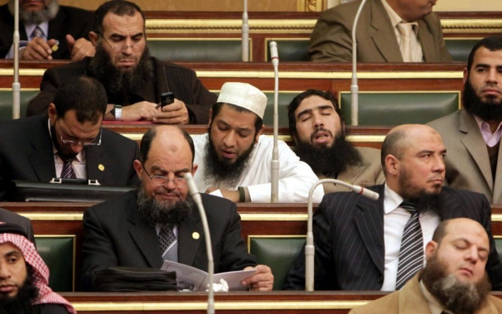 Islamist lawmakers in the Egyptian parliament in January 2012. (photo credit: AP/Asmaa Waguih/File)