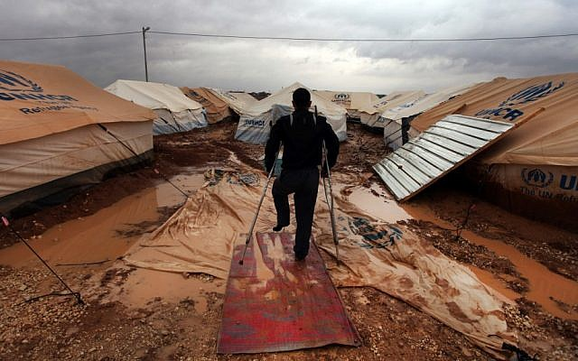 Illustrative photo of a refugee camp on near the Syria-Jordan border. (AP/Mohammad Hannon)