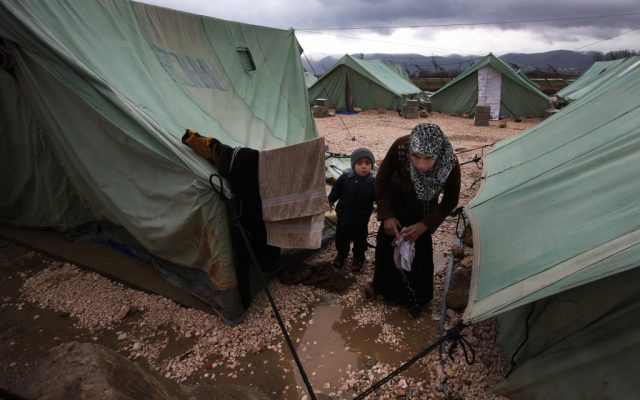 Illustrative photo of Syrian refugees in Marj , Lebanon, in 2013. (photo credit: AP/Hussein Malla)