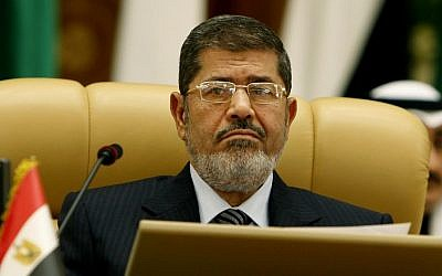 Egyptian President Mohammed Morsi attends the third session of the Arab Economic Summit, in Riyadh, Saudi Arabia, Monday, January 21, 2013. (photo credit: AP)