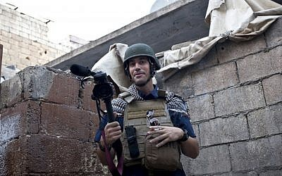 Journalist James Foley in Aleppo, Syria, in November, 2012. (photo credit: Nicole Tung/AP/freejamesfoley.org)