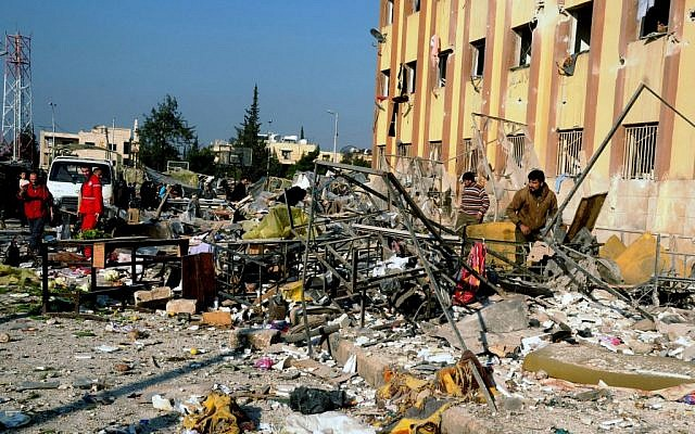 The site of an explosion in Aleppo, Syria, Tuesday, January 15, 2013 (photo credit: AP/SANA)