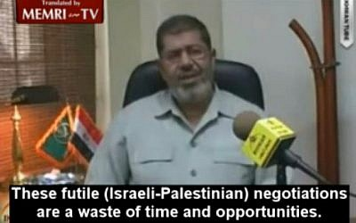 The Muslim Brotherhood's Mohammed Morsi gives an interview to Lebanese Al-Quds TV, in October 2010 (image capture MEMRI video)
