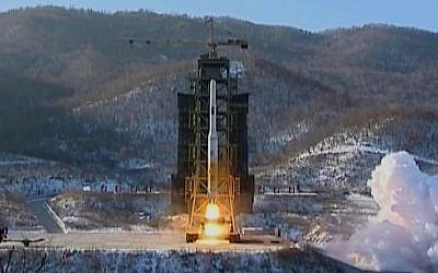 A screen capture from a video of North Korea's Unha-3 rocket lifting off from the Sohae launching station in Tongchang-ri, North Korea in December 2012. (photo credit: AP/KRT via AP Video)