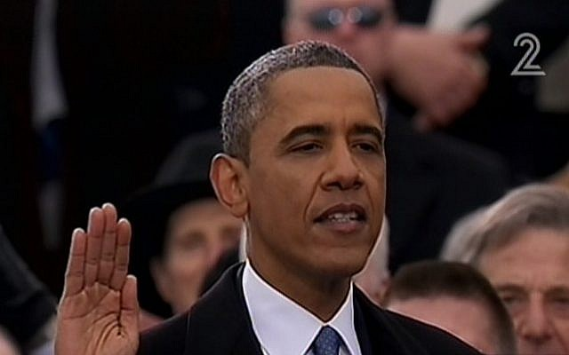 US President Barack Obama takes a public oath of office in Washington DC, Monday, January 21 (image capture Channel 2)