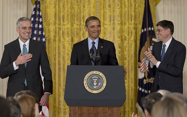US President Barack Obama, with current White House Chief of Staff Jack Lew, right, announces that he will name current Deputy National Security Adviser Denis McDonough,left, as his next chief of staff, Friday, Jan. 25, 2013, in the East Room of the White House in Washington. (photo credit: AP/Carolyn Kaster)