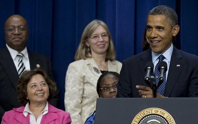 US President Barack Obama speaking on Monday. (photo credit:AP/Carolyn Kaster)