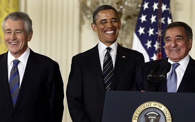 President Barack Obama and his choice for defense secretary, former Nebraska senator Chuck Hagel, left, and Leon Panetta in the East Room of the White House, January 7, 2013 (photo credit: Charles Dharapak/AP)
