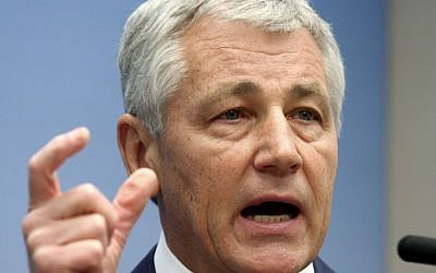 In this June 26, 2008 file photo, then-senator Chuck Hagel speaks on foreign policy at the Brookings Institution in Washington, DC (photo credit: AP/Lauren Victoria Burke)