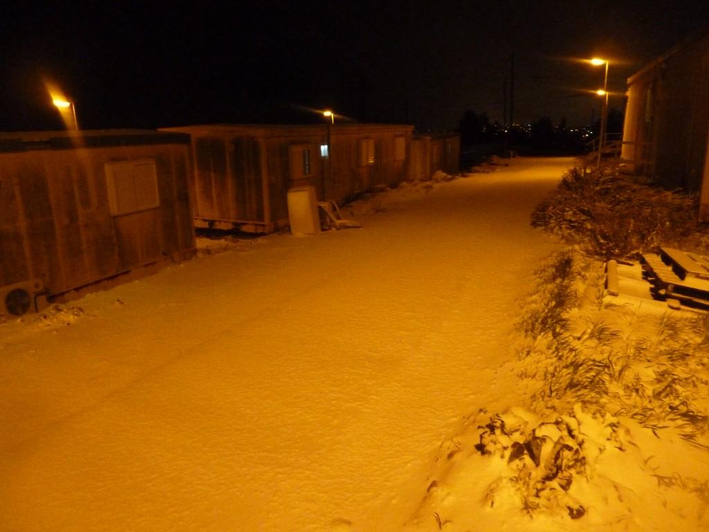 Snow in Psagot on Wednesday night (photo courtesy of Ester Granovsky)