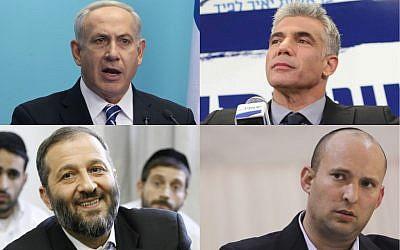 Clockwise, from top left:  Benjamin Netanyahu of Likud-Beytenu, Yair Lapid of Yesh Atid, Naftali Bennett of Jewish Home, and Aryeh Deri of Shas (photo credit: Flash90/JTA)