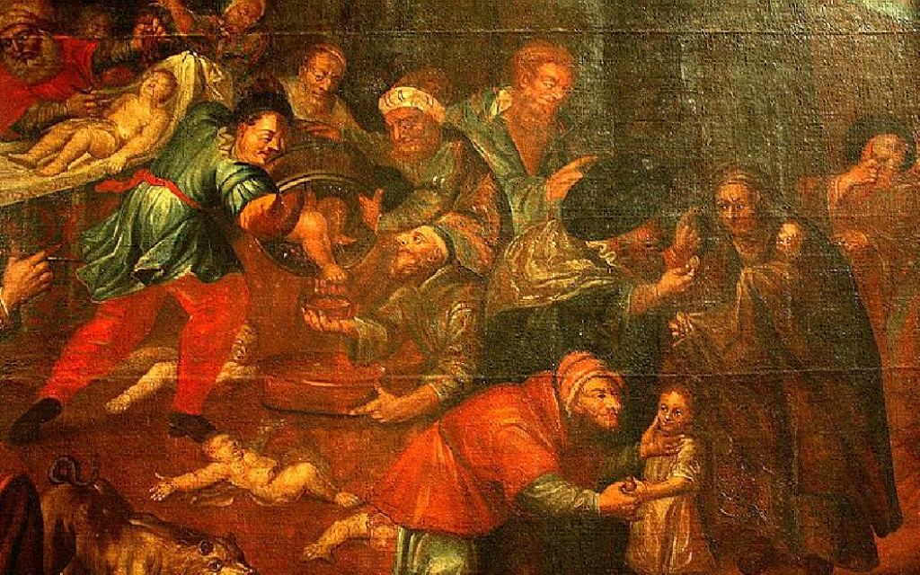A painting that still hangs in a cathedral in Sandomierz, Poland, depicts Jews murdering Christian children for their blood. (Courtesy of Zygmunt Miłoszewski)