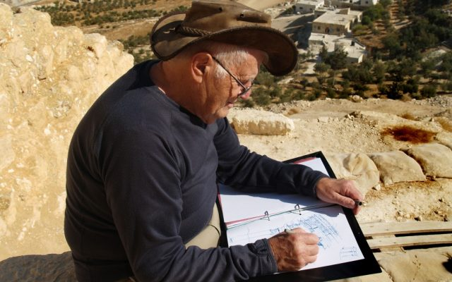 Professor Ehud Netzer sketching a freehand reconstruction of Herod's Mausoleum, taken on the day he fell to his death (photo credit: Andrei Vainer)