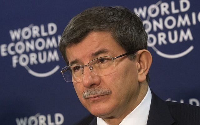 Turkish Foreign Minister Ahmet Davutoglu attends a press conference in Davos, Switzerland in December 2012. (photo credit: AP/Michel Euler)