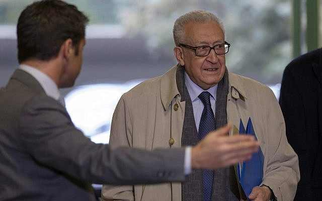 The UN Joint Special Representative for Syria, Lakhdar Brahimi arrives for a meeting with Russian deputy foreign minister Mikhail Bogdanov and US Deputy Secretary of State William Burns at the European headquarters of the United Nations, in Geneva, Switzerland, on Friday, Jan. 11 (photo credit: AP/Keystone, Salvatore Di Nolfi)