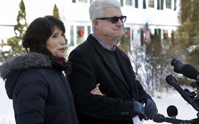 Diane and John Foley speak about their son, James Foley, 39, a journalist who was kidnapped in Syria by unknown gunmen on Thanksgiving day, during a news conference at their home in Rochester, N.H., on Thursday (photo credit: AP/Elise Amendola)