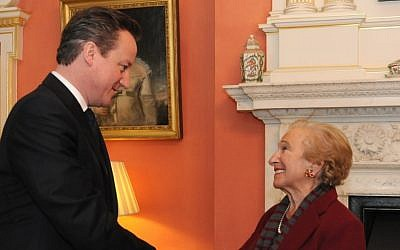 British Prime Minister David Cameron greets Freda Wineman, a French-born Holocaust survivor, Monday in London. (Danielle Manson)
