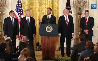US President Barack Obama (center) nominates former senator Chuck Hagel (second from left) as the new defense secretary. (photo credit: image capture from White House live feed)