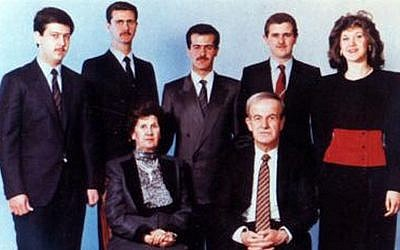 The Assad family in 1994. Front: Hafez Assad and Anisa Makhlouf. Rear, left to right: Maher, Bashar, Bassel, Majid, and Bushra Assad (Wikipedia)