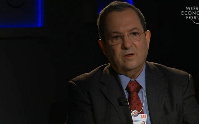 Ehud Barak at the World Economic Forum meeting in Davos (photo credit: WEF screenshot)