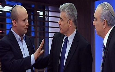 Naftali Bennett, left, speaking with Yair Lapid and Nissim Mishal on Mishal's TV program Thursday. (photo credit: Screenshot/Channel 2)