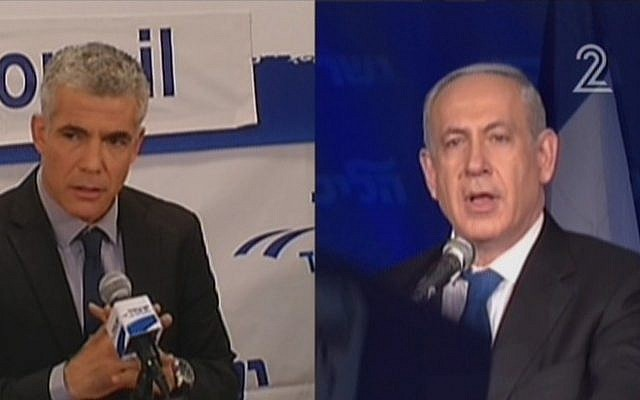 Yair Lapid and Benjamin Netanyahu (photo credit: Channel 2 screenshot)