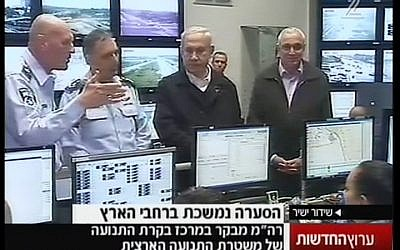 Prime Minister Benjamin Netanyahu during a visit to the police's traffic control center in Beit Dagan on Wednesday, Jan. 9 (image capture Channel 2)