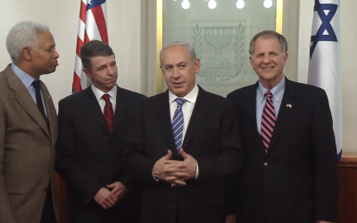 Prime Minister Benjamin Netanyahu (third from left) and US Congressmen on Monday, January 28, 2013, in Jerusalem (Screenshot: YouTube, via PMO)