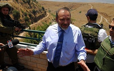 Avigdor Liberman, pictured at the Lebanese border village of Ghajar in 2009 (photo credit: Hamad Almakt / Flash 90)