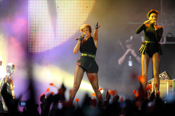 "Barbadian singer Rihanna performs during a concert in Tel Aviv on May 30, 2010 as part of her ""Last Girl on Earth"" tour. (photo credit: Flash 90)"