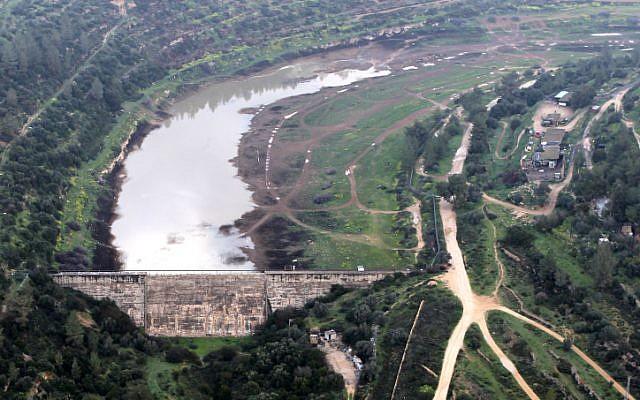 Bird's eye view of Beit Zayit Dam, on the outskirts of Jerusalem, last year. (photo credit: Nati Shohat/Flash90)