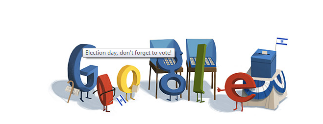 Google's doodle Tuesday (photo credit: screen shot, Google)