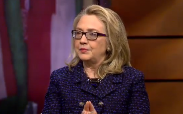 Secretary of State Hillary Clinton speaking to students in Global Town Hall interview in 2013. (screenshot: YouTube, via US Department of State)