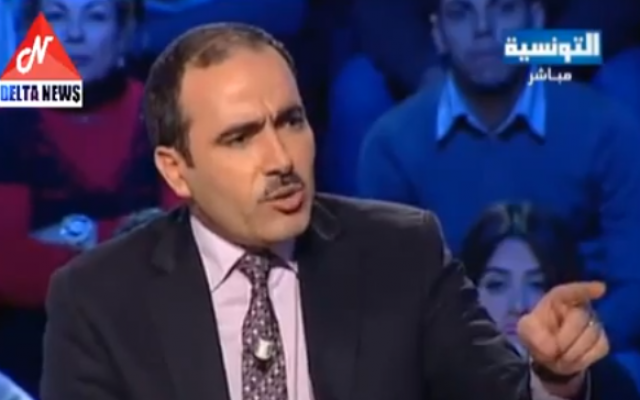 Tunisian state secretary for immigration Houcine El Jaziri (photo credit: screen capture/Youtube)