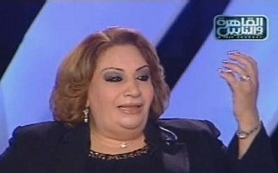 Former Egyptian Supreme Court judge Tahani el-Gebali, speaking on a talk show in 2009 (photo credit: screen capture/Youtube)
