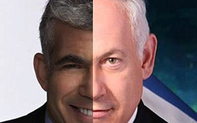 Yair Lapid and Benjamin Netanyahu (composite of two campaign photos)
